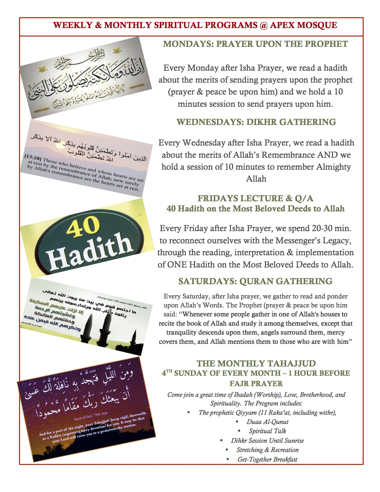 Weekly & Monthly Programs